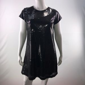 Nicole Miller Platinum Sequins Shift Shift Dress
